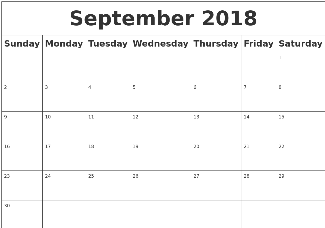 Image result for september 2018 blank calendar