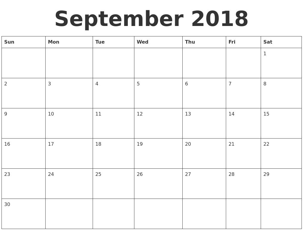 september 2018 blank calendar template. Black Bedroom Furniture Sets. Home Design Ideas
