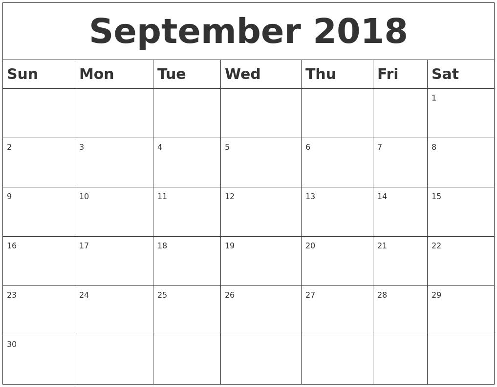 september 2018 blank calendar