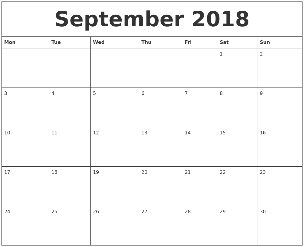 blank monthly calendar template 2018