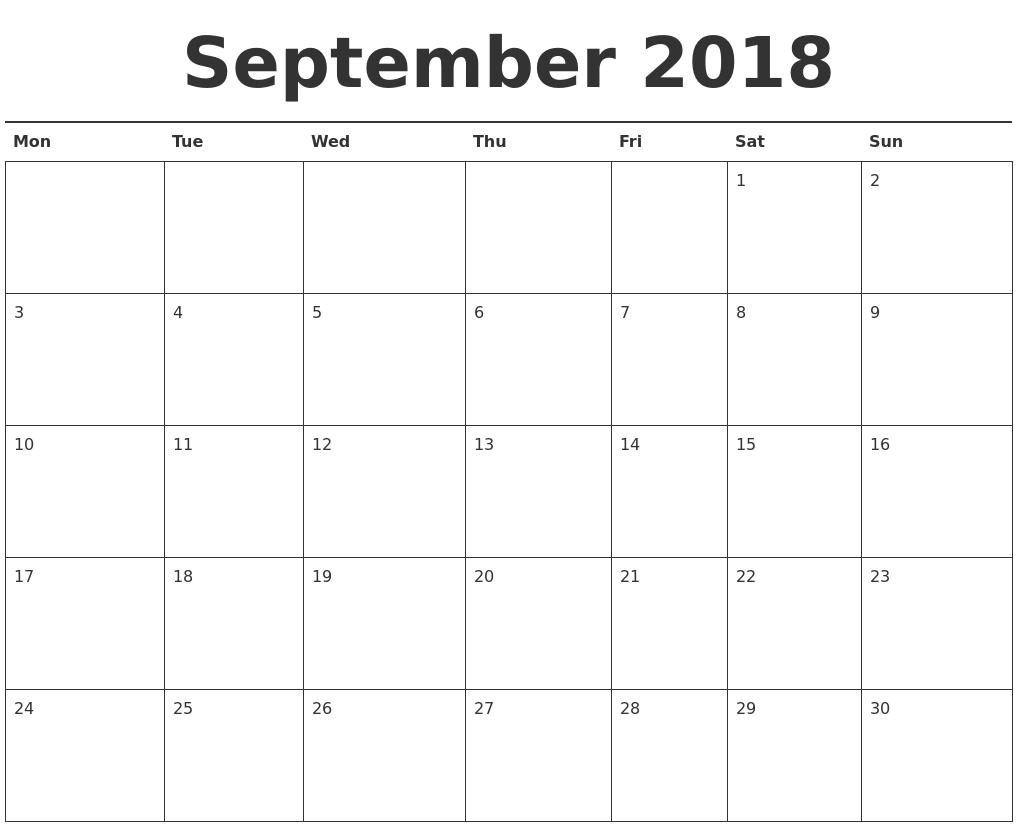 sep 2018 calendar printable