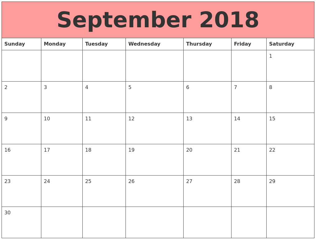 September 2018 Calendars That Work PDF's