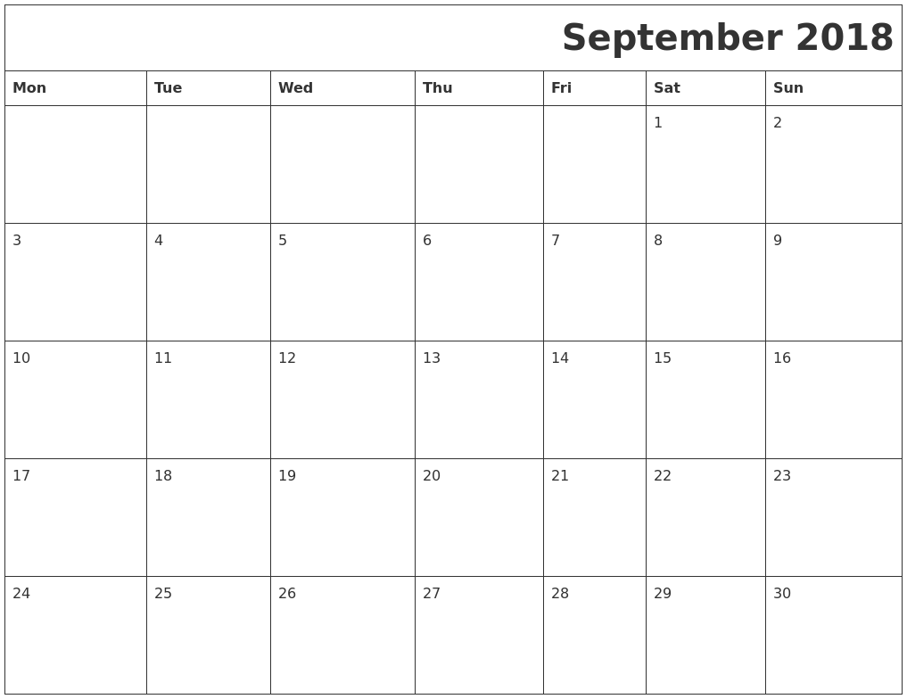 Calendar Monday Start : September download calendar