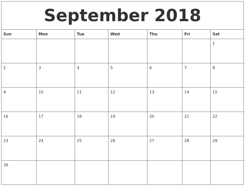 September 2018 Free Blank Calendar Template