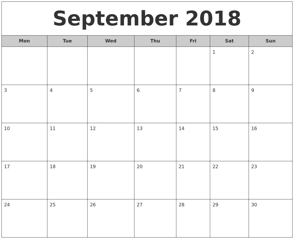Monthly Calendar Monday Start : September free monthly calendar