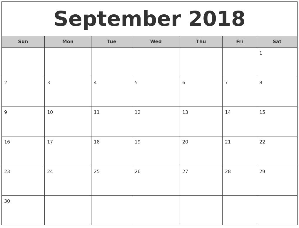 september 2018 free monthly calendar