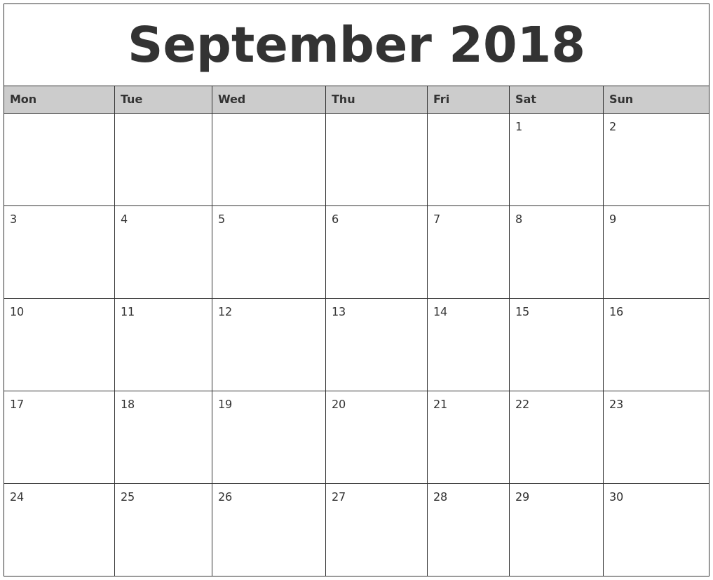 monthly 2018 calendar template