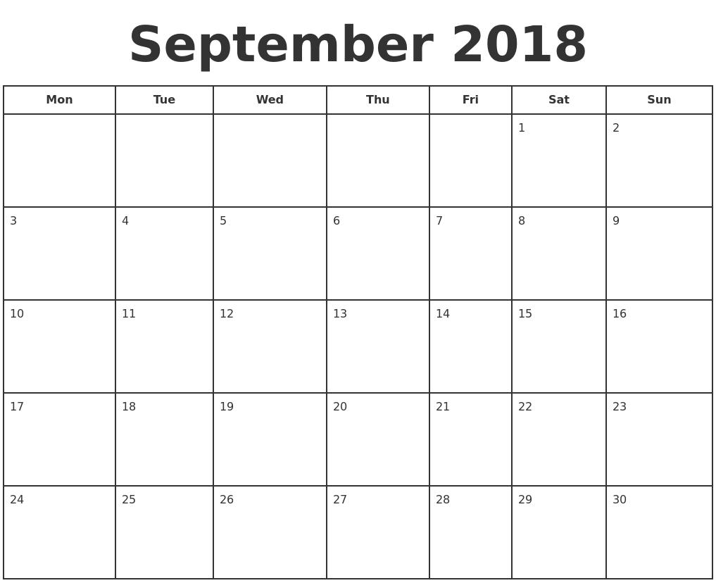 September 2018 Print A Calendar