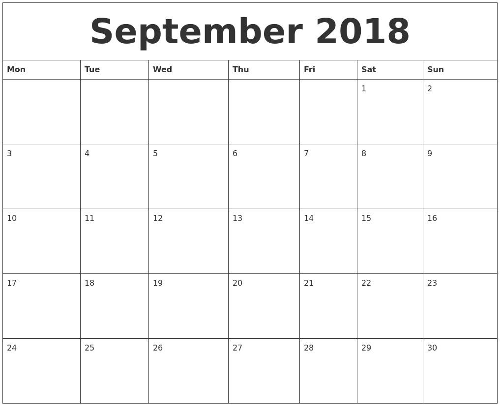 September 2018 Printable Calendar Template