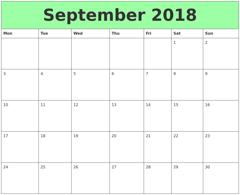printable calendar 2018 september