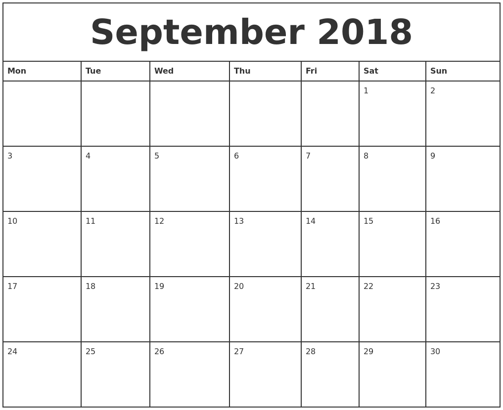 September 2018 Printable Monthly Calendar