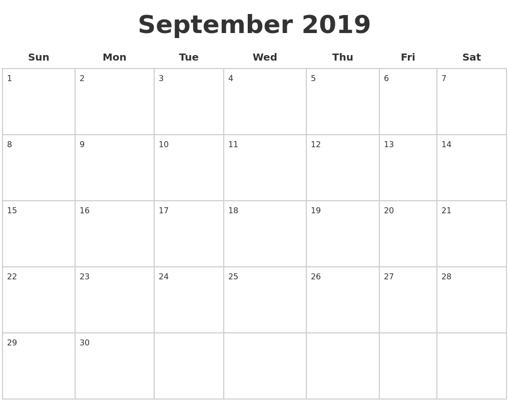 September 2019 Blank Calendar Pages