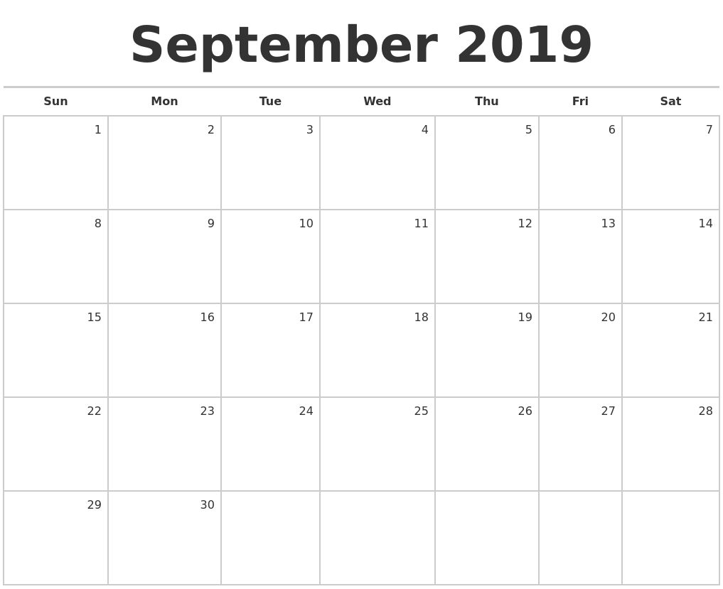September 2019 Blank Monthly Calendar