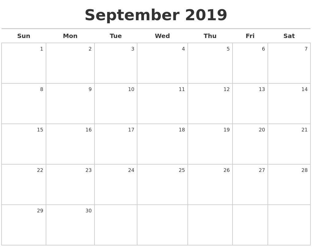 September 2019 Calendar Maker