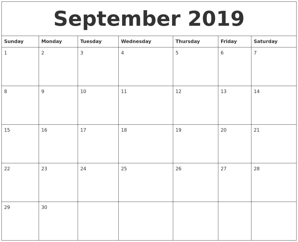 Calendar For Sept 2019