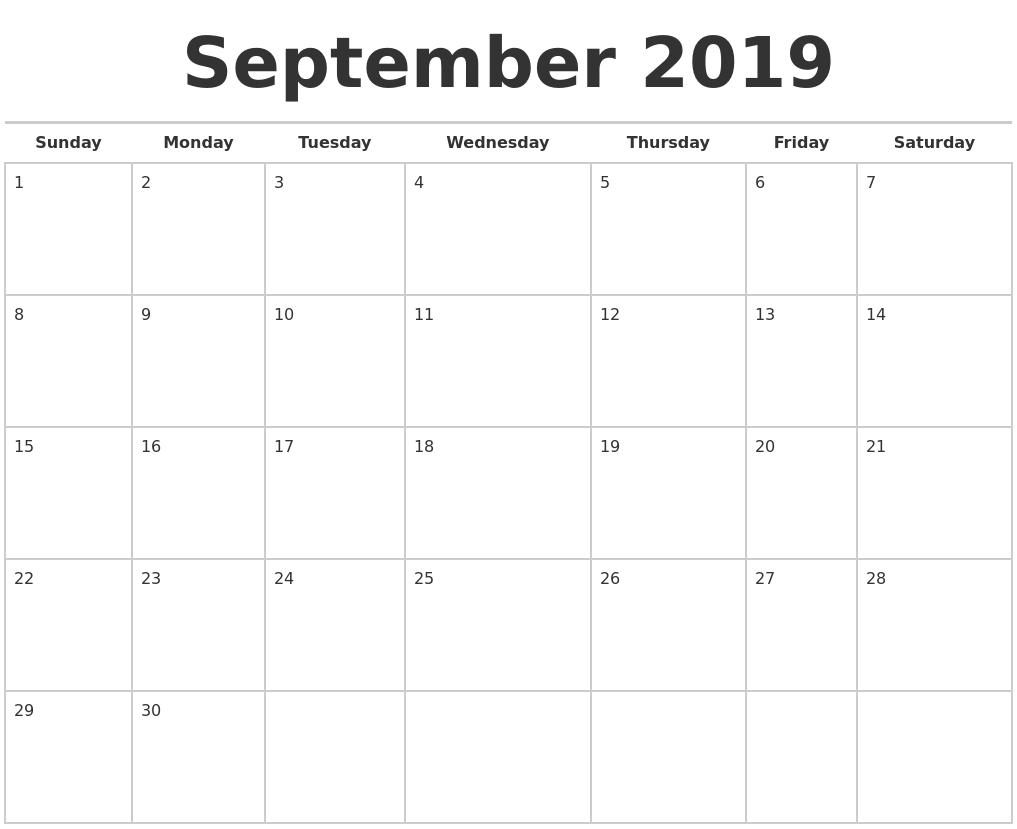 September 2019 Calendars Free PDF's