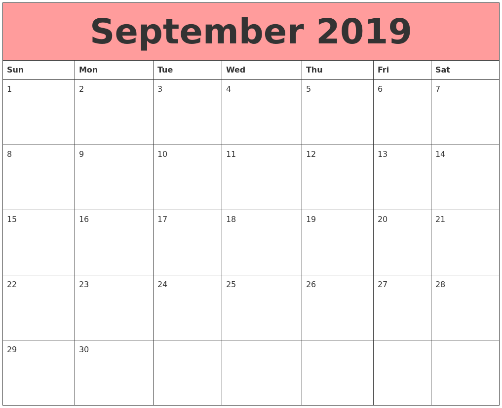 September 2019 Calendars That Work