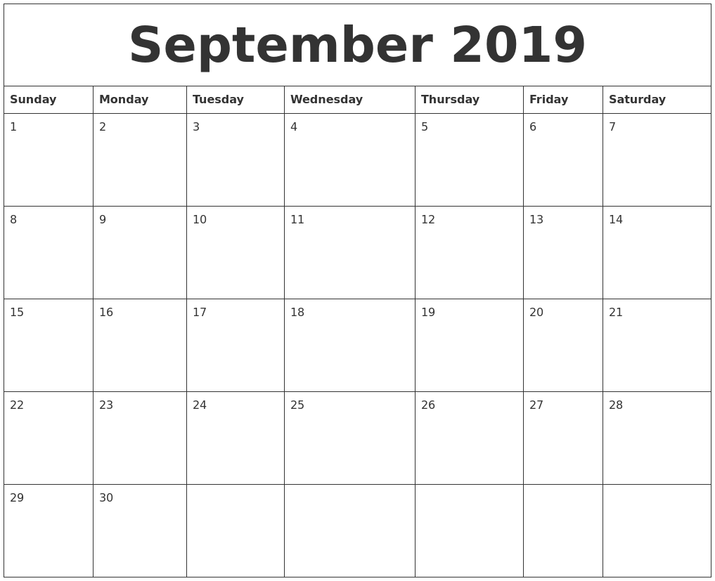 September 2019 Free Blank Calendar Template PDF's