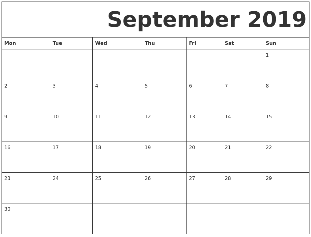 photograph regarding Printable Calendar identify September 2019 Absolutely free Printable Calendar