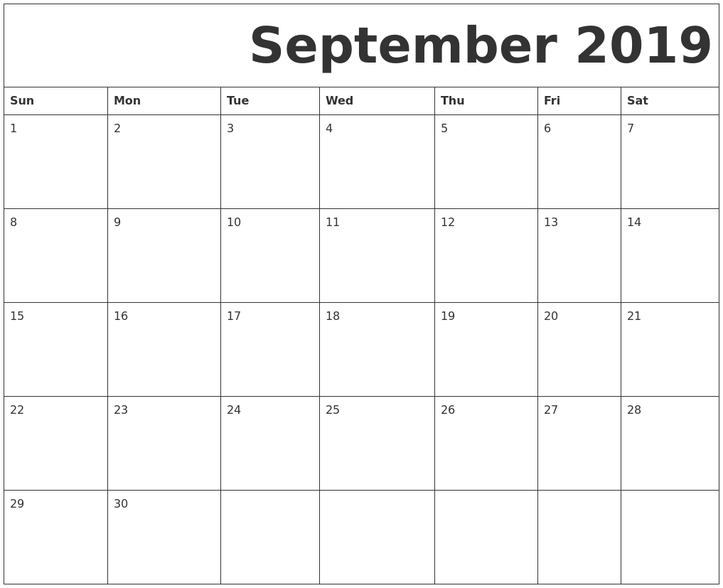 photograph relating to Free Printable Oct Calendar named September 2019 Absolutely free Printable Calendar