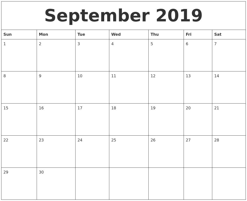 September 2019 Free Printable Monthly Calendar