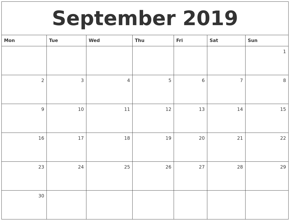 September 2019 Monthly Calendar