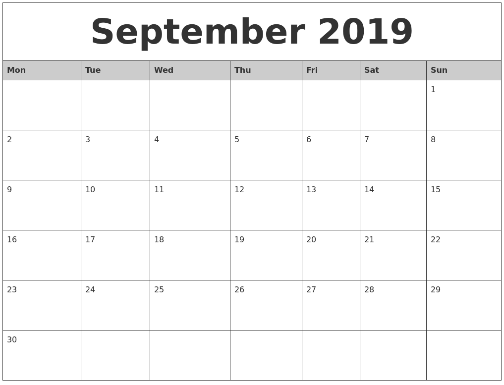 September 2019 Monthly Calendar Printable