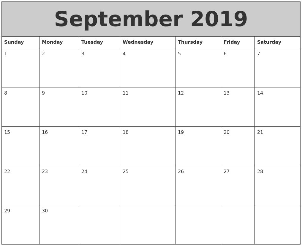 September 2019 My Calendar
