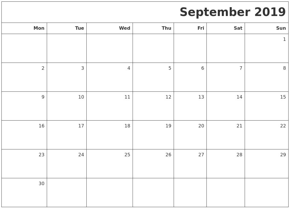 September 2019 Printable Blank Calendar