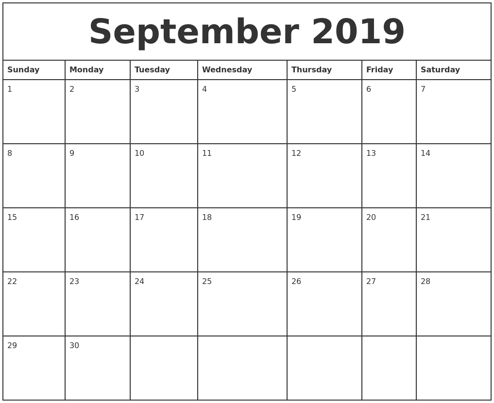 September 2019 Printable Monthly Calendar
