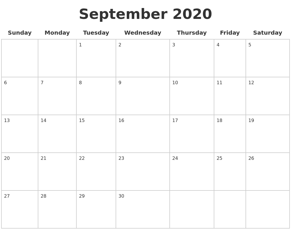 September 2020 Blank Calendar Pages