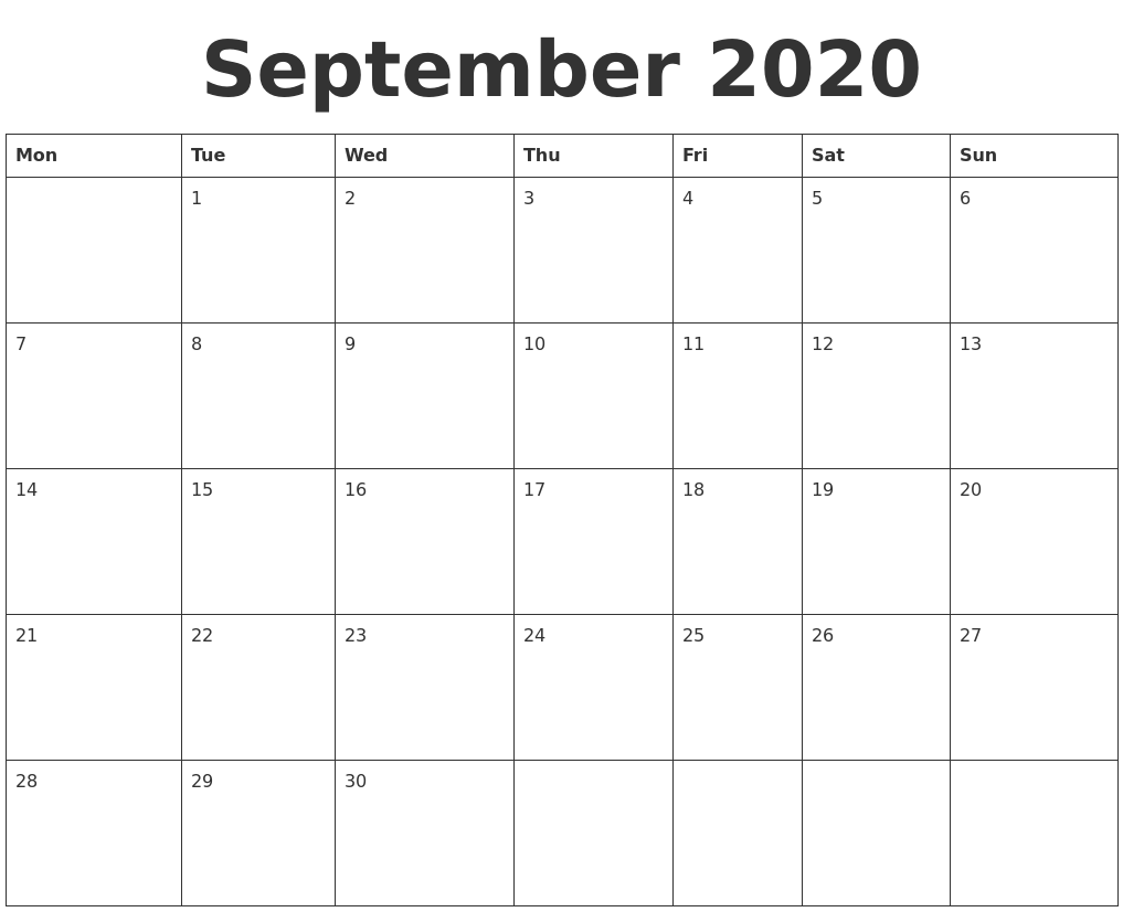 It is a graphic of Impertinent Printable Calendars September 2020
