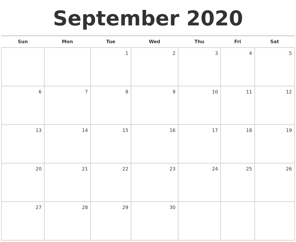 September 2020 Blank Monthly Calendar