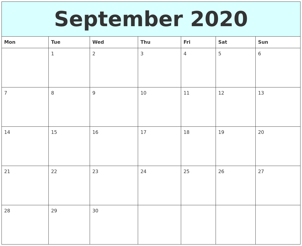This is a picture of Sizzling Printable Calendars September 2020