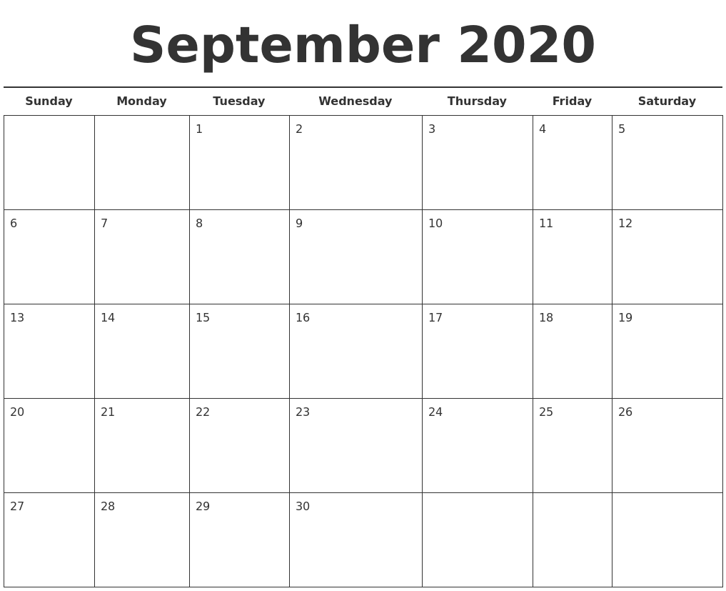 It's just a photo of Bright Printable Calendars September 2020