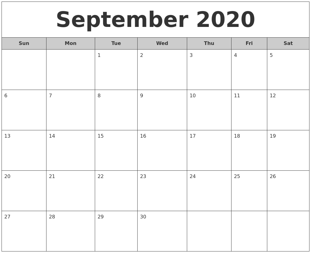 September 2020 Free Monthly Calendar
