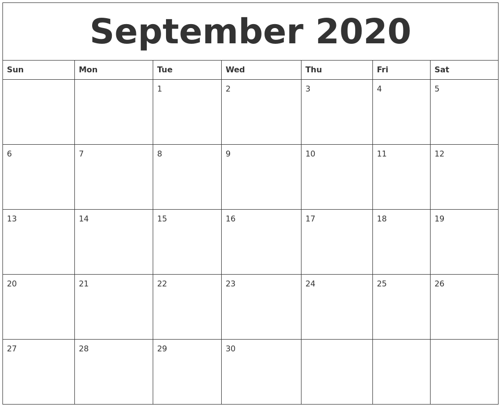 September Calendar 2020 Printable.September 2020 Large Printable Calendar