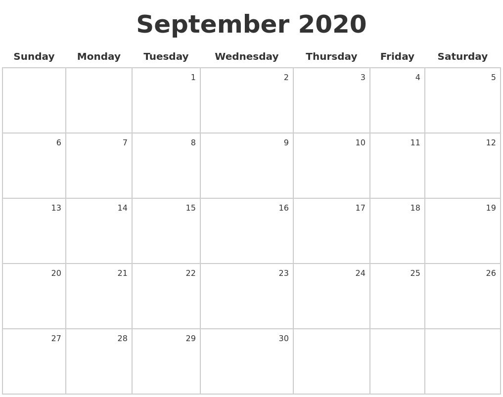 Calendar A : September make a calendar