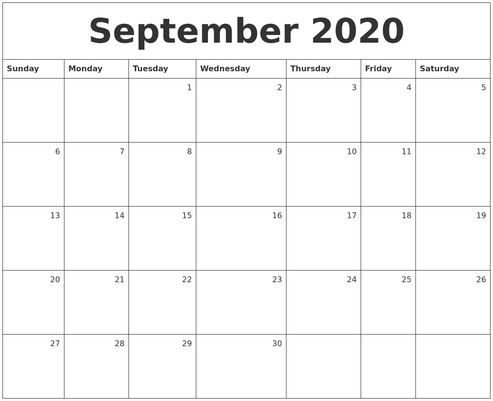 September 2020 Monthly Calendar PDF's