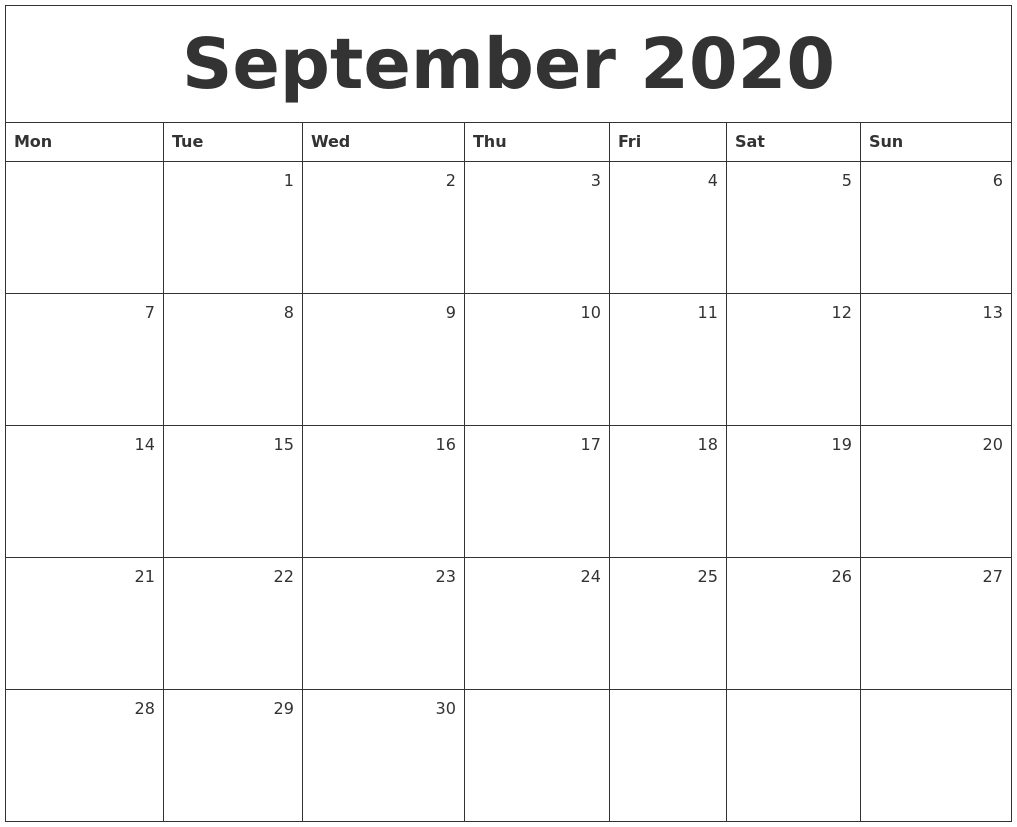 It's just a graphic of Punchy Free Printable Calendars September 2020