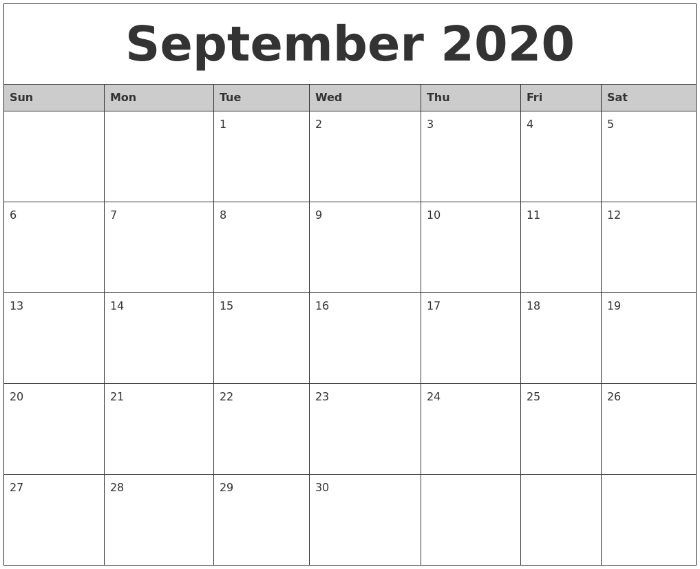September 2020 Monthly Calendar Printable