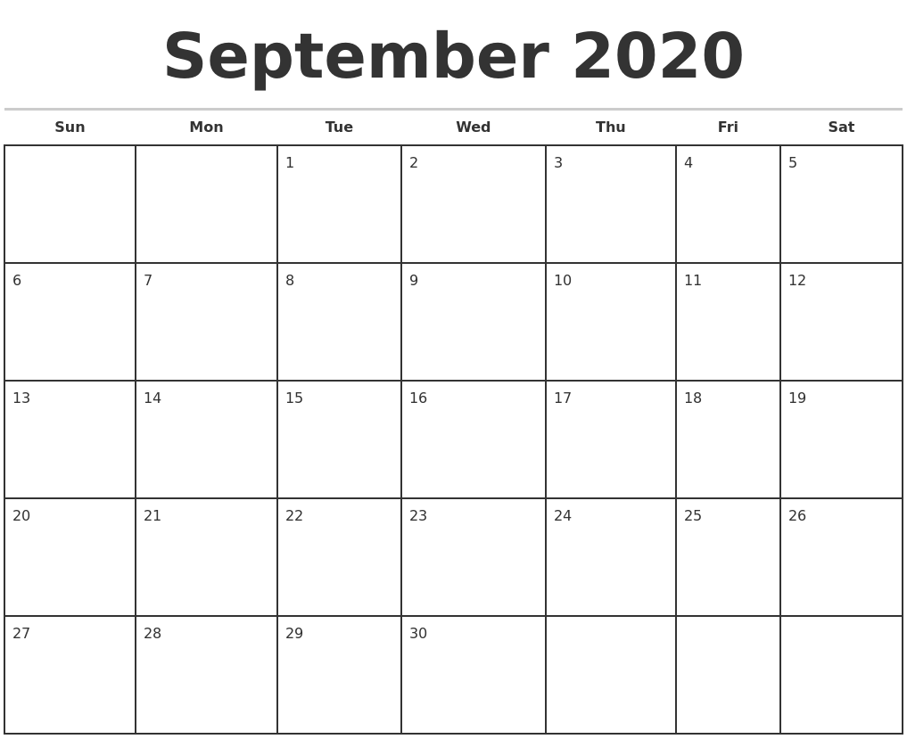 September 2020 Monthly Calendar Template