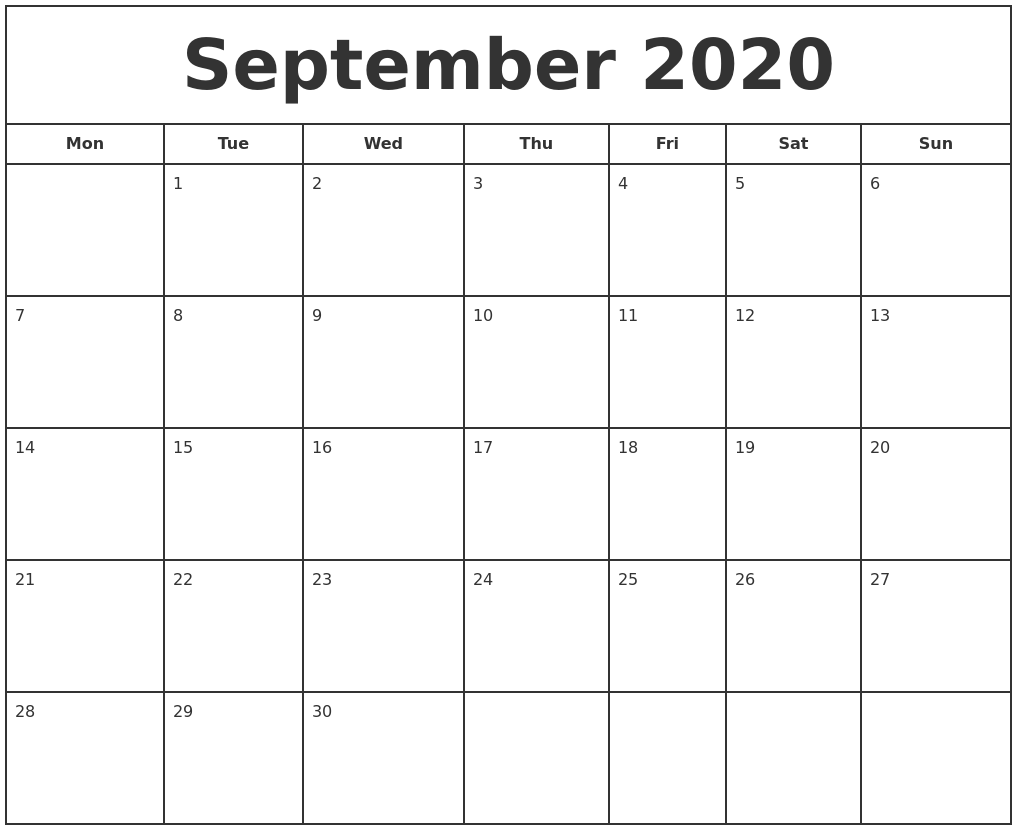 This is a graphic of Clever Printable Calendars September 2020