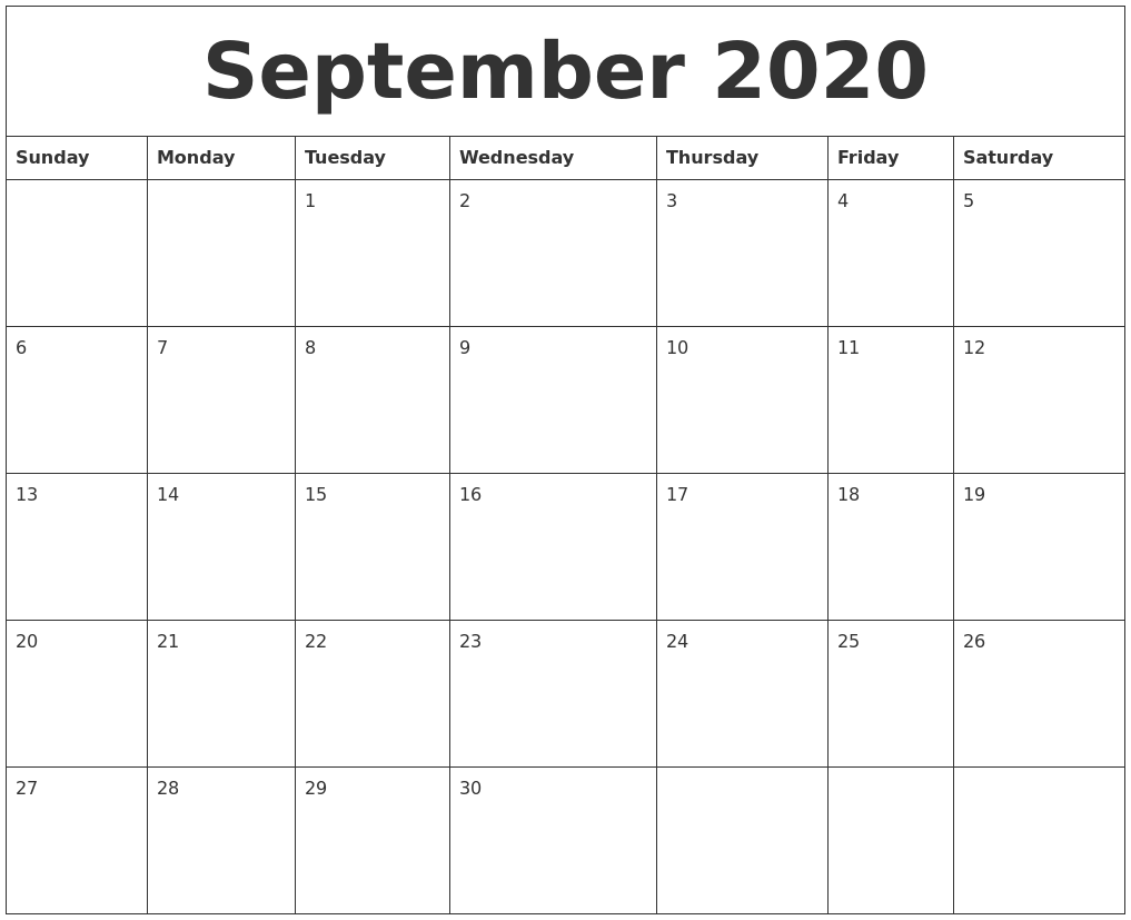 September 2020 Printable Blank Monthly Calendar