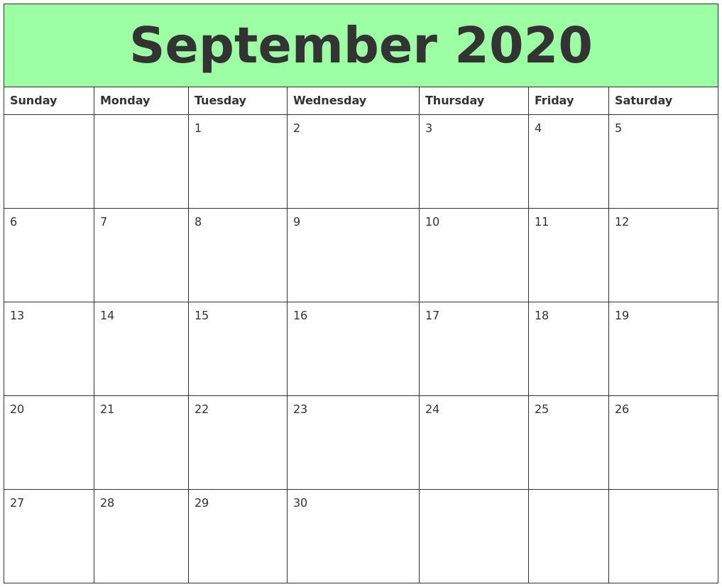 This is a photo of Modest Printable Calendars September 2020