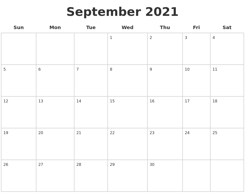 September 2021 Blank Calendar Pages