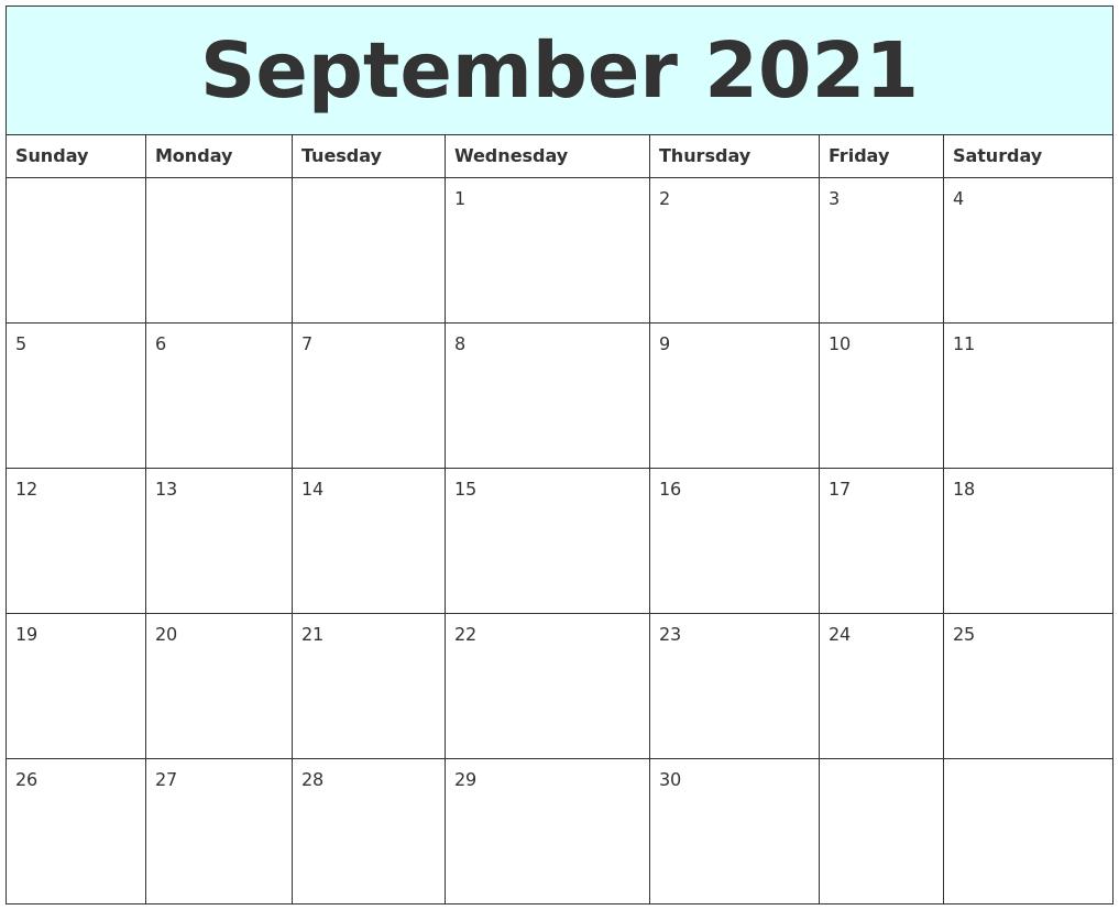 September 2021 Free Calendar