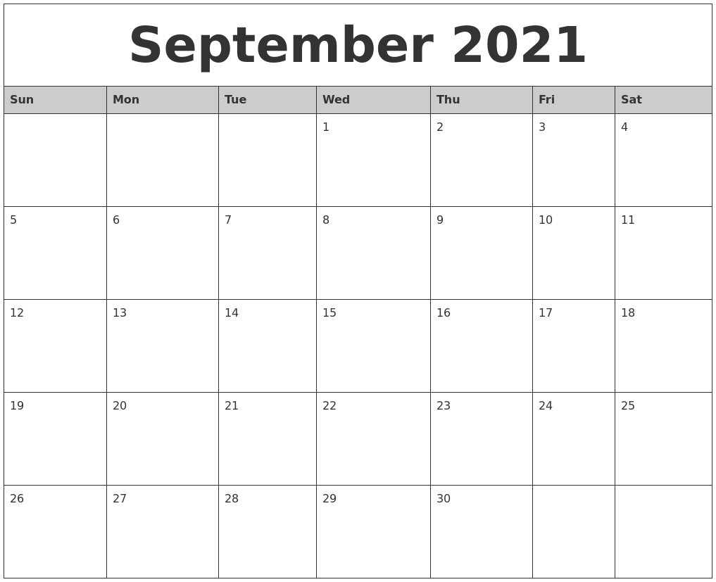 September 2021 Monthly Calendar Printable