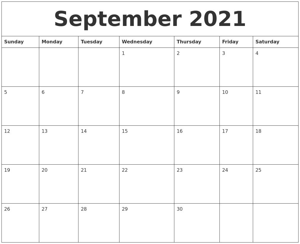 September 2021 Calendar Word Background