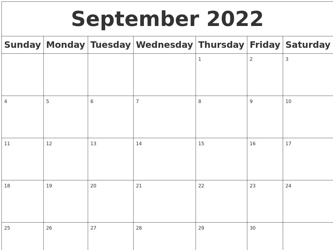 Blank Calendar For September 2022.September 2022 Blank Calendar